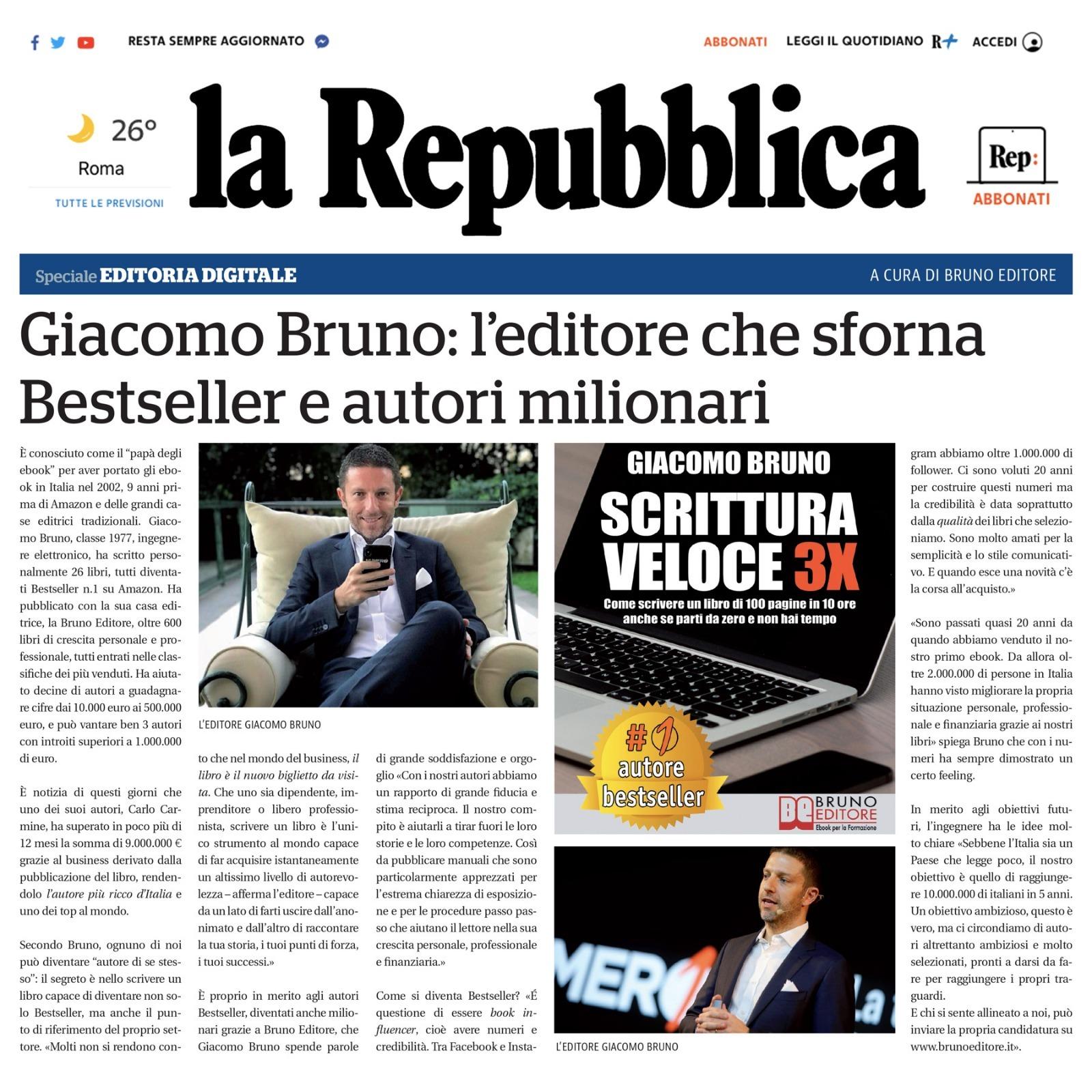 Giacomo Bruno su La Repubblica: l'Editore che Sforna Bestseller e Autori Milionari