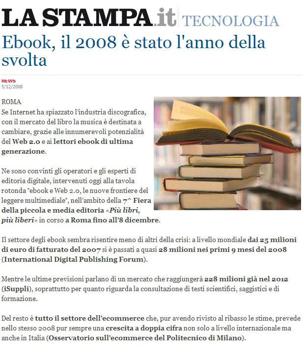 """La Stampa riprende la mia frase """"Ebook, il 2008 è stato l'anno della svolta"""""""